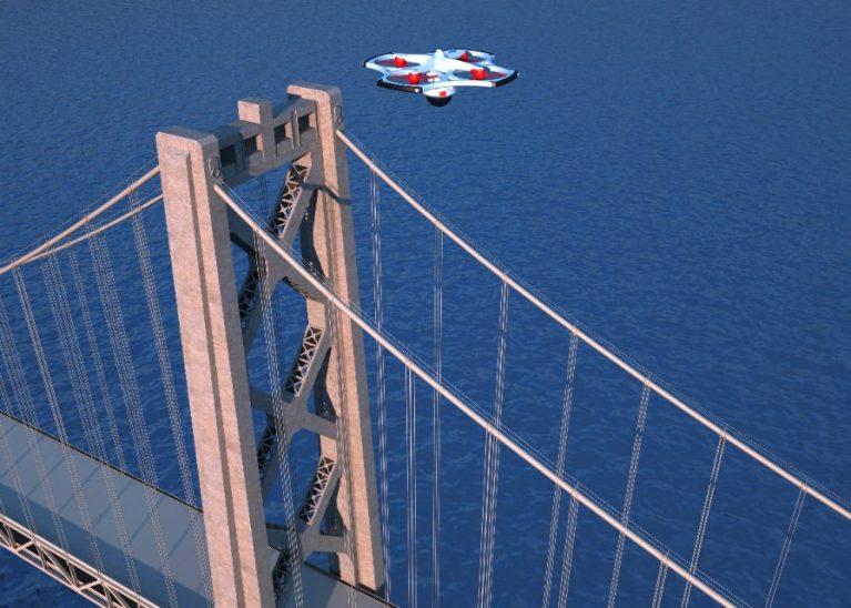 橋とドローン